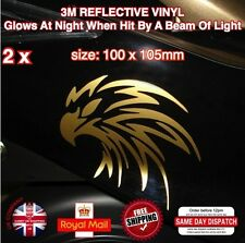 2x Gold Eagle Head (handed pair) Motorcycle Tank Sticker Decals Vinyl 100mm N008