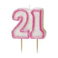 """3.5"""" Pink Sparkle 21st Birthday Glitter Cake Decoration Molded Candle"""