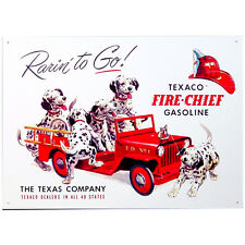 Vintage Replica Tin Metal Sign Fire Chief Texaco dalmatian puppy dog gas Oil 594