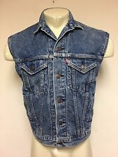 MENS VINTAGE LEVI'S 0218 BUTTON UP DENIM JEAN JACKET CUT OFF VEST SIZE LARGE