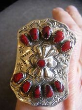 Navajo Red Coral Sterling Silver Ring Size 6.5 - 6.75 Wilbert Benally