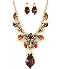 Austrian Crystal Women Necklace Earrings Set Gold Plated Plum Drop Red Amber
