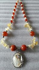 Citrine&Carnelian Stone With Mother Of Pearl Necklace WisdomProsperityHappyness