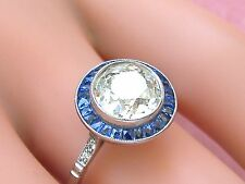 ART DECO 1.67ct MINE DIAMOND SAPPHIRE HALO PLATINUM ENGAGEMENT COCKTAIL RING