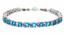 Silver London Blue Topaz And White Topaz 11ct Adjustable Tennis Bracelet