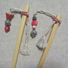 """Pretty Girl"" Japanese Style Hairsticks Pair with Woven Himo Ties & Beads"