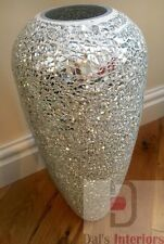 Stunning Silver Decorative Mosaic Mirrored Crackle glass Vase-40cm Home decor
