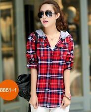 Fashion Womens Casual Plaids Checks Lapel Hooded Casual Shirts Tops Dress Shirt