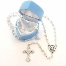 Childrens childs small pearl rosary beads + blue heart box  Communion gift boy
