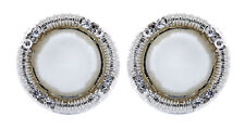 CLIP ON EARRINGS - silver earring with a central pearl & clear crystals  - Venus