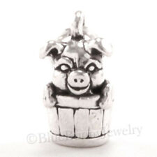 3D PIG in a bucket Charm Pendant Farm Animal Piggy 925 STERLING SILVER cute!