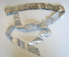Silver Sequin Stretch Ribbon Belt