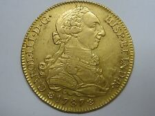 1787 SEVILLA 8 ESCUDOS CHARLES III DOUBLOON SPANISH COLONIAL SPAIN GOLD COIN