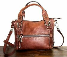 VINTAGE DISTRESSED FOSSIL BROWN GENUINE LEATHER X-BODY BOHO SHOULDER BAG HANDBAG