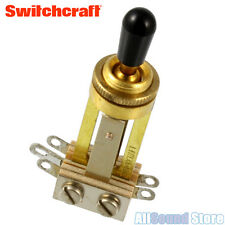 Switchcraft GOLD Straight 3-Way Toggle Switch with Black Tip for Gibson Les Paul
