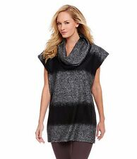 2X BRYN WALKER Black Gray Colorblock Cowl Neck Poncho Tunic Top NWT $148