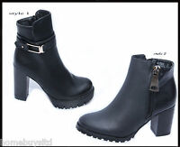 LADIES/WOMENS NEW PLATFORM HIGH HEEL ANKLE BOOTS SHOES ZIP STRAP SIZE 3-8 BLACK