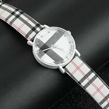 Fashion Plaid Leatheroid Watch Women Men Sport Casual Quartz Wristwatch#H