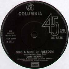 """CLIFF RICHARD ~ SING A SONG OF FREEDOM ~ 1971 UK 7"""" SINGLE ~ COLUMBIA DB 8836"""