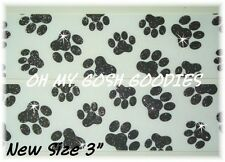 "3"" GLITTER PAW PAWPRINT GROSGRAIN RIBBON 4 CHEER TEAM FOOTBALL WHITE BLACK"