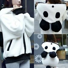 Cute Panda Women Winter Warm Fleece Hoodie Hooded Jacket Coat Casual Outerwear