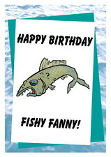 Birthday card, Funny Rude 16th 18th 21st 30th 40th 50th 60th 70th 80th FishFanny