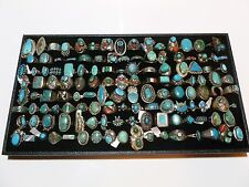 """LOT NATIVE AMERICAN NAVAJO MEXICAN 560 STERLING SILVER TURQUOISE CORAL RING """"S"""""""