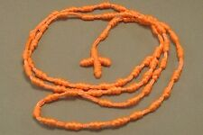 """Knotted Rosary Knot Design 30"""" Loop 5"""" Drop Necklace NEON ORANGE Low Stock!"""