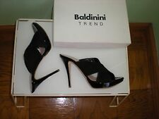 $895 NIB BALDININI Black Suede with Patent Leather Heels Made in Italy SZ 8.5 US