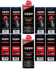 2 Cans 4 Ounce Fuel Fluid; 4 Pack Flint (24 Flint) and 4 Wicks for Zippo Lighter