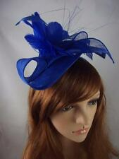 Royal Blue Leaf Sinamay Fascinator with Feather Flower - Occasion Wedding Races