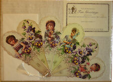 Turn of the Century Fan Greeting Reproduced From an Original 1901 Paper Fan