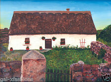 "Ireland Thatched Roof Cottage Irish Home 8""x10"" oil painting print Framable."