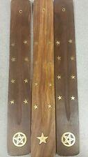 """3 (10"""") Wooden Wood Incense Burner Holder Ash Catcher for Sticks"""