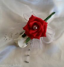 XMAS Wedding Buttonhole Corsage Red Ivory Roses Diamante Ribbon Silver Sprays