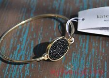 Kate Spade Bangle Bracelet Do Wonders Pave Disc Thin Black Gold Tone New York