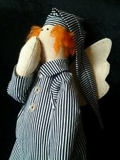 "Angel Tilda Doll Handmade Cloth Goodnight 14.5"" Homemade Primitive OOAK"
