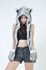 Unisex  Faux Fur Wolf Animal Hood Hoodie Hat 3 in 1 Scarf Pocket cap Xmas Gift