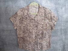 "Chico's Silk Blend Shirt 3 L LRG XL Neutrals Button-front Chest Pkts 47"" Bust"