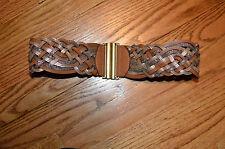 Ann Taylor LOFT  camel metallic leather  mixed material gold wide strech belt XS