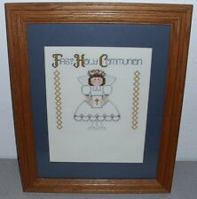 "Wood Framed Embroidery Cross Stitch Picture First Holy Communion 16"" X 13"""