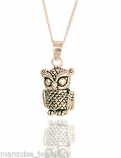 925 Sterling Silver Articulated Owl Pendant & Chain. Marquise.