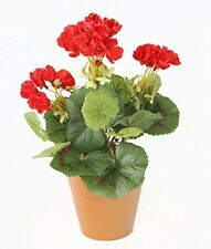 Closer To Nature Artificial 24cm Red Zonal Geranium Plug Plant - Pot Not