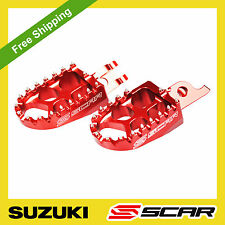 FOOTPEGS EVO SUZUKI RMZ 250 2010 2011 RMZ 450 08-17 2016 2017 RED FOOT PEGS SCAR