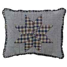 JENSON QUILTED ACCENT PILLOW W/ FILLER 8 POINT STAR CHAMBRAY W/ PLAID TRIM 14X18