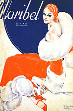 Zappa Maribel 1935 RED HEAD in LONG COAT w WHITE FUR  Spanish Deco Cover Matted