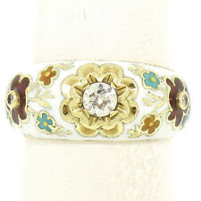 Antique 14K Yellow Gold Old Mine Diamond White Red Blue Enamel Flower Band Ring