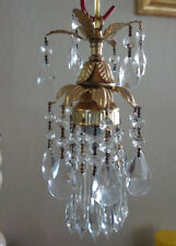 1o3 small  hanging lily lamp Chandelier Crystal prism Brass Tole Pendant fixture