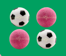 4 Foosballs: 2 Red Textured & 2 Black & White Engraved Table Soccer Balls