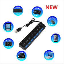 7-Port USB 2.0 Multi Charger Hub +High Speed Adapter ON/OFF Switch Laptop/PC XG